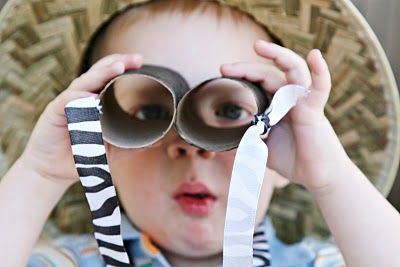 Like the animal print ribbon? Good activity for the kids to decorate and create their own binoculars.