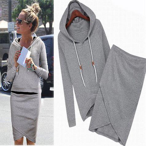 Women's Full Sleeve Casual Hooded Two Piece Dress Knee Length Sport Dress