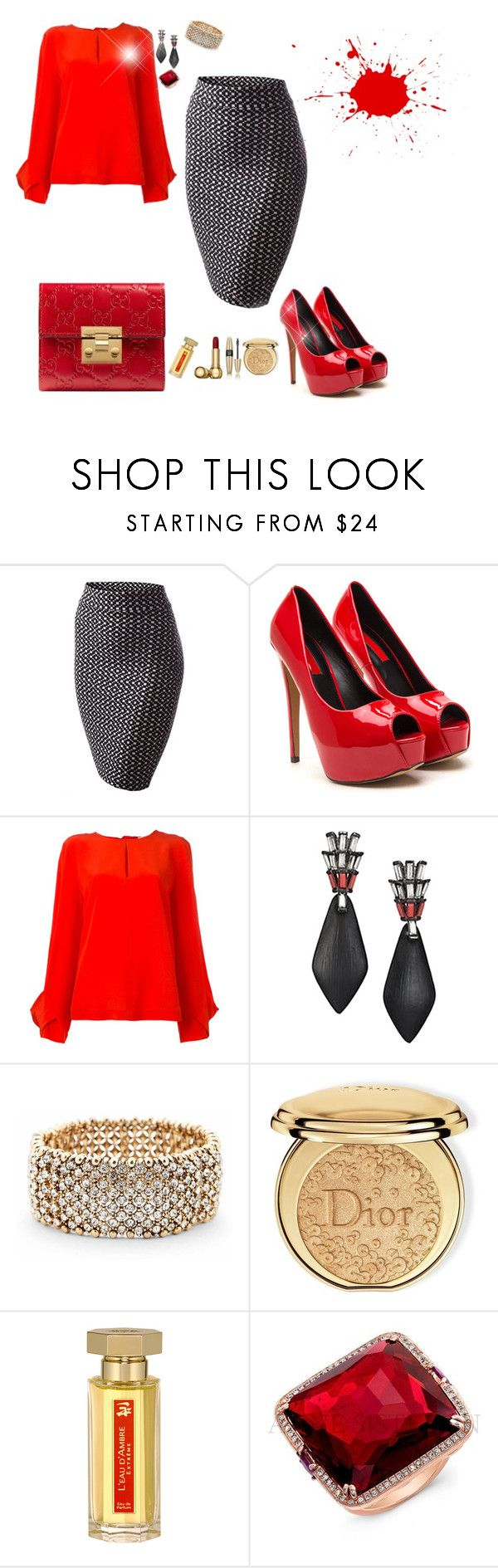 Office time lady in Red by Diva of Cake featuring mode, MSGM, Gucci, Anne Sisteron, Alexis Bittar, Sole Society, Christian Dior, L'Artisan Parfumeur and Victoria's Secret