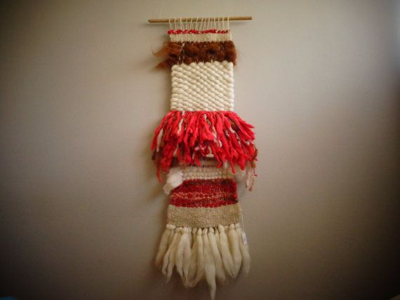 Red White and Natural Alpaca Wall Hanging by CrisalidaTextile