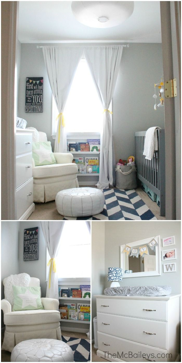 Gender Neutral Nursery = white + navy + gray + yellow