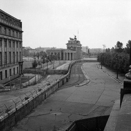 Where the Berlin Wall once stood. Brandenburg Gate and Pariser Platz taken from West Berlin, Germany.