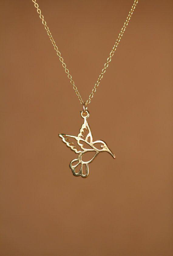 Humming bird necklace  gold hummingbird necklace  silver