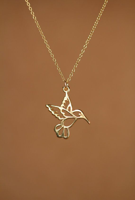 Humming bird necklace  gold hummingbird necklace  by BubuRuby, $26.00