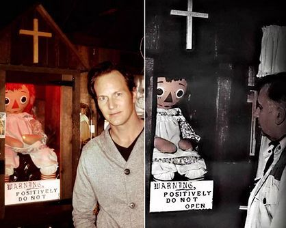 Patrick Wilson (who played Ed warren in 'The Conjuring' 1 and 2) and The real, late, Ed Warren. Both near the real Annabelle.