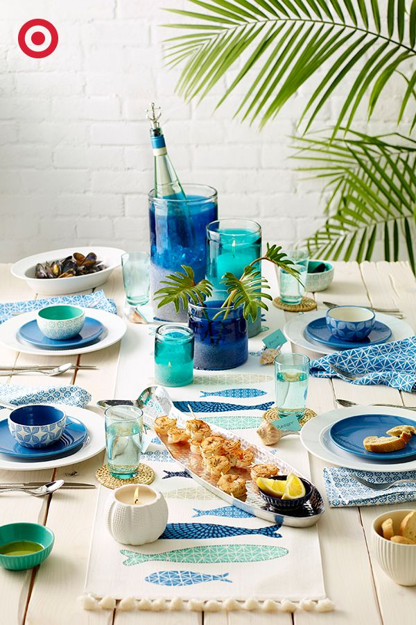 Well, Now We All Have An Excuse To Throw A Sea Inspired Backyard Party. How  Can You Beat All These Blues? And Those Fish Detailsu2026 Come On!
