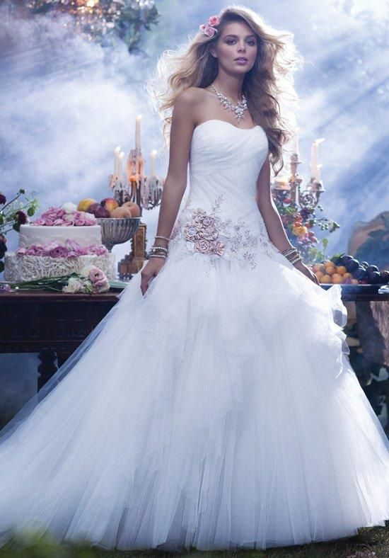 Strapless organza ball gown with lace details + beading | Disney Fairy Tale Weddings by Alfred Angelo | https://www.theknot.com/fashion/238-disney-fairy-tale-weddings-by-alfred-angelo-wedding-dress