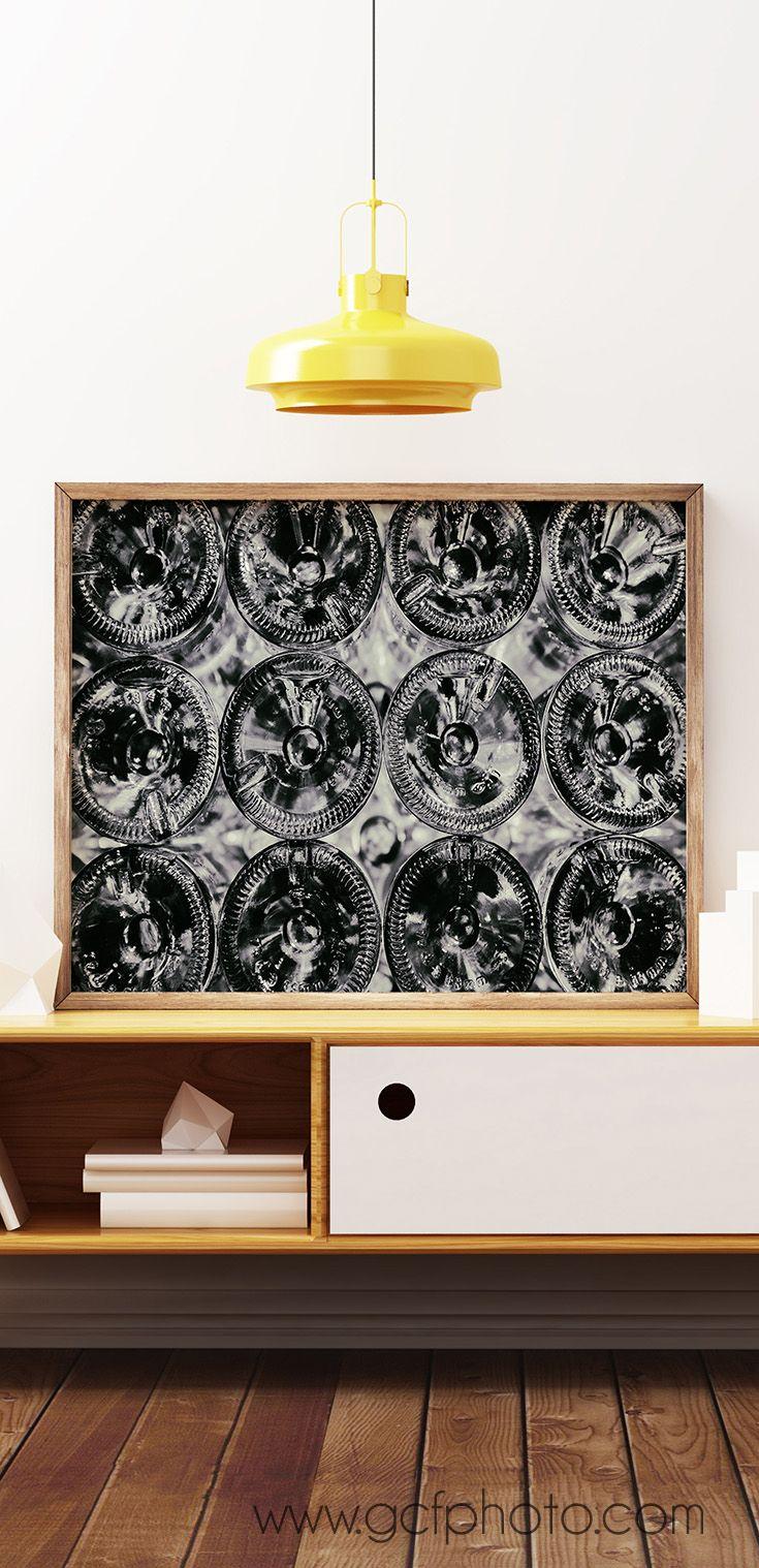 Wine Print for Bar or Restaurant Decor Wine Glasses Black