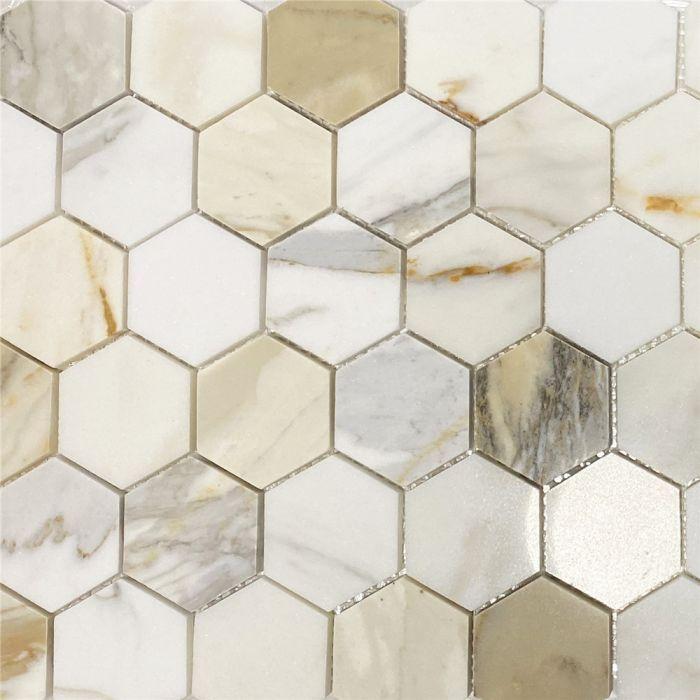 Calacatta Gold 2 Inch Hexagon Mosaic Tile Polished Marble From Italy In 2020 Calacatta Gold Marble Hexagon Mosaic Tile Hexagonal Mosaic