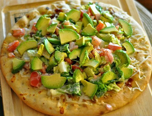 Oh my goodness, this looks amazing!  BLT Pizza with Avocado