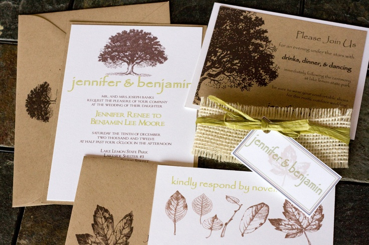Oak Tree Wedding Invitation  Rustic, Natural, Romantic & Chic Brown Tan Green. $6.00, via Etsy.