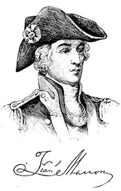 """Francis Marion, the Swamp Fox ... General Marion, known as """"The Swamp Fox,"""" was a Revolutionary officer from Berkeley County, South Carolina. Even though he was a commissioned officer in the South Carolina Second Regiment, he also led a band of irregular fighters in the back- and low-country swamps of South Carolina fighting the British troops under Lord Cornwallis. He is generally credited as the Father of Guerrilla Warfare, and is recognized as such at various War Colleges."""
