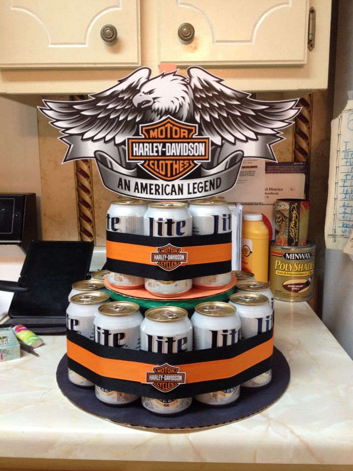 Harley Davidson beer cake I made for my dad's 50th birthday