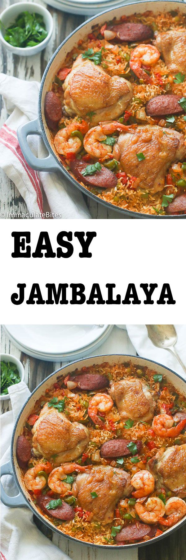 Easy Jambalaya! A Classic Southern one pot dish with bold flavors  made easy !Easy  enough for a weeknight meal, yet makes a sumptuous  meal when entertaining . Simply Delicious !! Although it originates from Louisiana, it has French and Spanish roots, the use of spices is reminiscent of what you'll find in African and Caribbean Cuisine. For those unfamiliar …