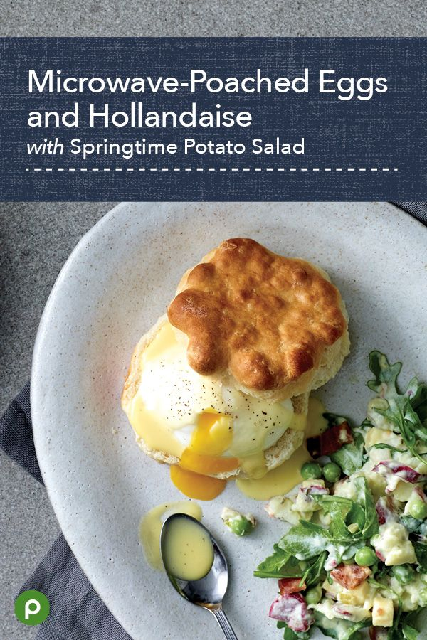 Simplify a morning classic—eggs Benedict—with Publix Aprons' Microwave-Poached Eggs and Hollandaise with Springtime Potato Salad. Split Publix Bakery biscuits, quick-poach eggs in the microwave and top with a velvety sauce as a special mid-morning meal or a memorable midnight snack. For a side, dress up potato salad with bacon, cheese, and arugula. #brunchrecipe