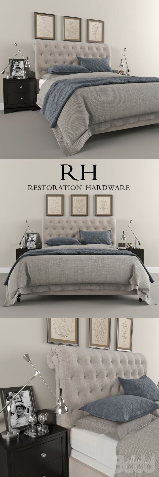 Restoration Hardware Sleigh Chesterfield Fabric Bed 3d