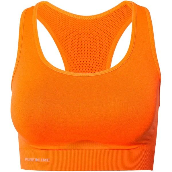 Pure Lime Seamless Bra Top ($23) ❤ liked on Polyvore featuring activewear, sports bras, tops, underwear, bras, orange, sports fashion, womens-fashion, top sports bras and sports bra