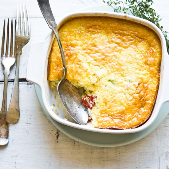 Corn Pudding | Like a soufflé but less temperamental, this pudding can be served either straight from the oven or at room temperature.