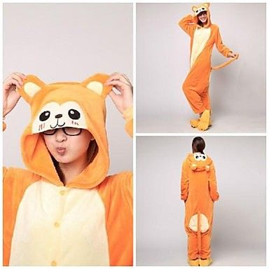 Cute Orange Monkey Adult Coral Fleece Kigurumi Pajamas Animal Sleepwear