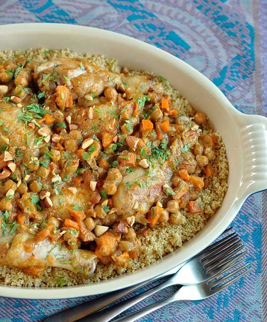 Moroccan Recipe: Chicken Tagine with Apricots, Almonds & Chickpeas ...