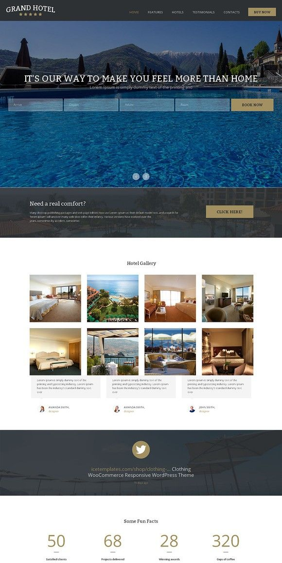 Grand Hotel One Page Theme. HTML/CSS Themes. $12.00