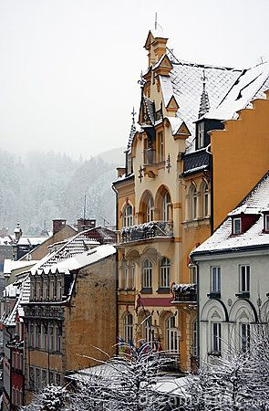 A winter image of Karlovy Vary, Czech Republic, with a building of 1899.