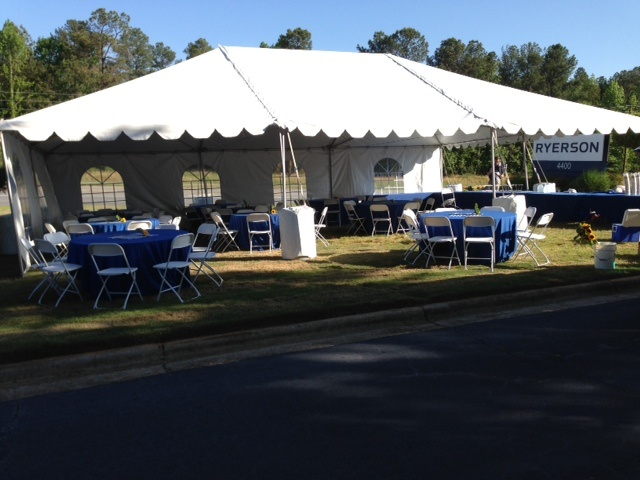 Set up for our customer's party, perfect day for a BBQ lunch outside