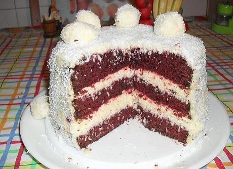 Red velvet (vörös bársony torta) kókuszkrémmel töltve - Story Online