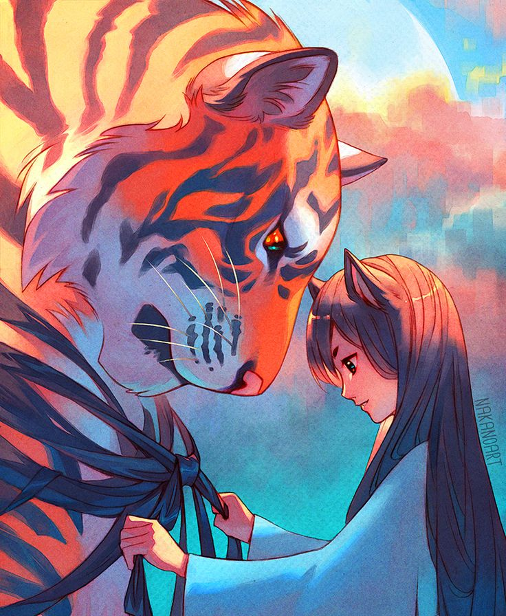 Tangled Tiger by nakanoart # illustration paper texture color red character design female girl tiger
