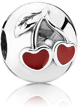 Pandora 791093EN39 rote Liebeskirschen Silber-Clip Element