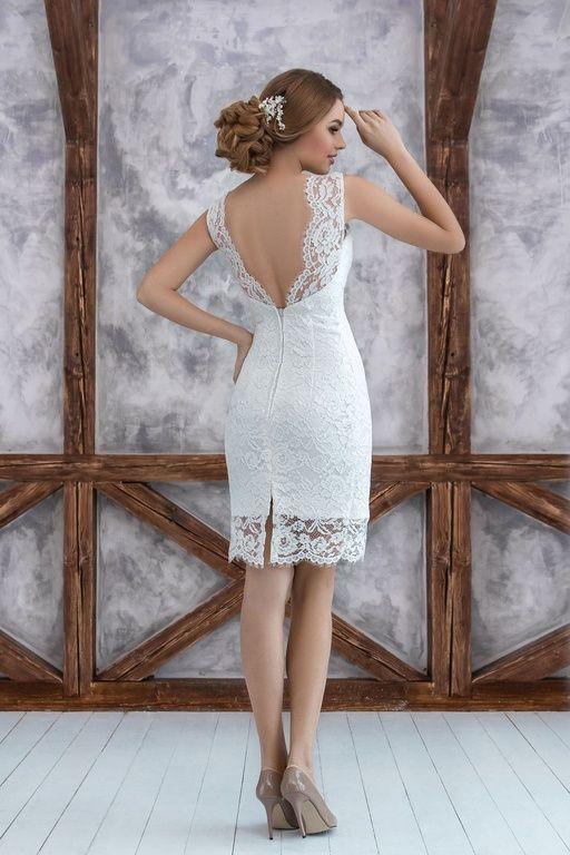 Короткие свадебные платья - Осло, короткое свадебное платье, открытая спинка свадебного платья, wedding dress, wedding