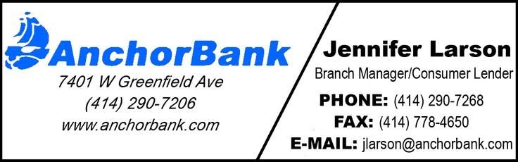 Anchor Bank  7401 W Greenfield Avenue  West Allis, WI 53214  414-290-7206  #bank #westallis