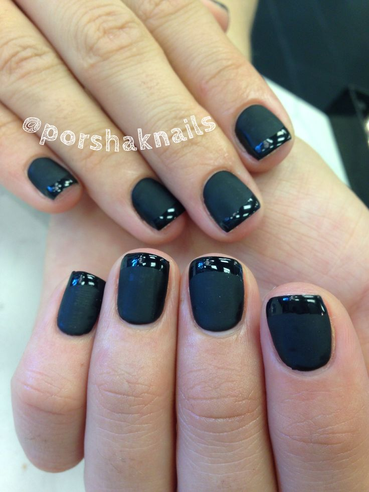 Black Gel Nails With One Silver Glitter Nail: Matte Black Gel Manicure With Glossy Tip