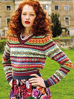 V neck Fair Isle Sweater pattern by Debbie Bliss
