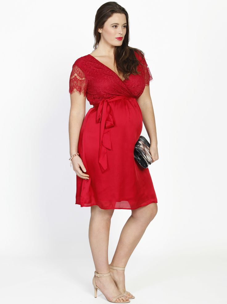 Emily Maternity Lace Party Dress in Red, $89.95, now just $39.95, is the perfect dress for the office Christmas party or any special occasion.