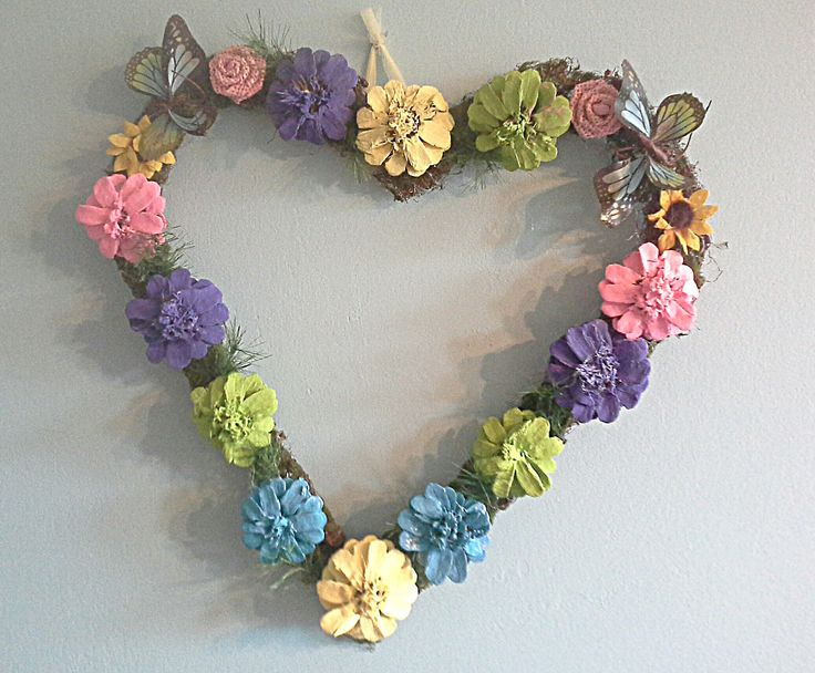 Pinecone wreath / springtime heart wreath /Mother's day painted pinecone Wreath by uniquegiftsbymichele on Etsy
