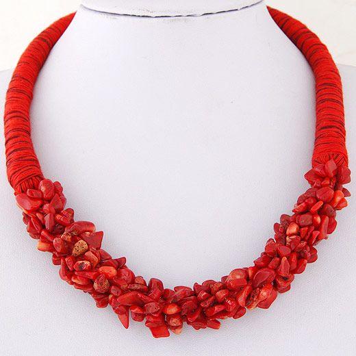 Europa moda de estilo bohemio toda la moda collar partido de grava (rojo)