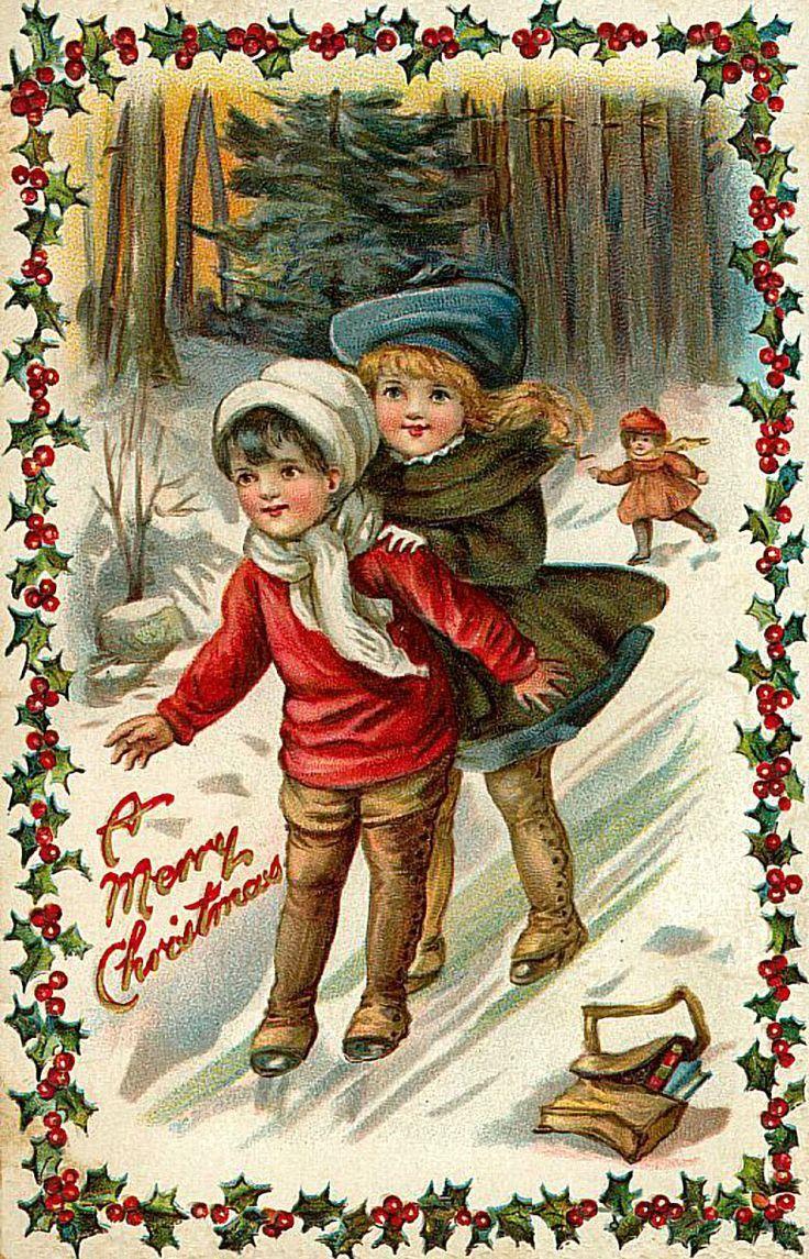 Бабушке марта, картинки старинных новогодних открыток