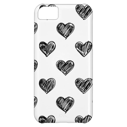 CUTE BLACK HEARTS DOODLES PATTERN IPHONE 5C CASE