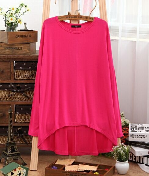 Women's Oversized Hot Pink Batwing Poncho T-Shirt Top Blouse