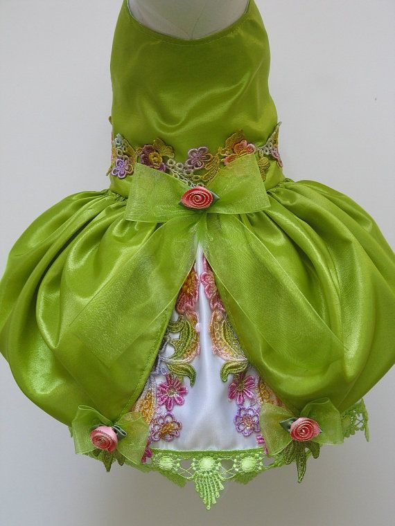 Dog or Cat Dress, Hat & Leash Set - Beautiful Lime Victorian One-Of-A-Kind