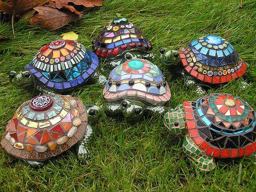 Mosaic turtle sculptures