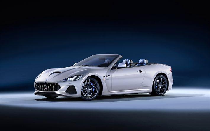 Descargar fondos de pantalla Maserati GranCabrio, 4k, 2018 coches, cabriolets, los autos italianos, 2018