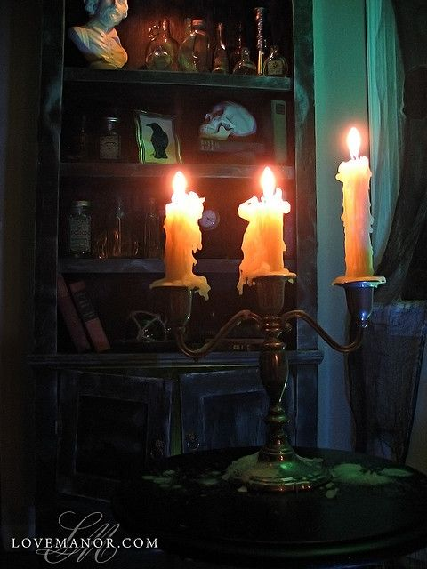 A Visit to the Potion Cabinet (by Johnny Love)Candles Lights, Halloween Decor, Candelabra, Hallows Eve, Haunted House, Halloween Inspiration, Potion Cabinets, Halloween Ideas, Glow Candlelight
