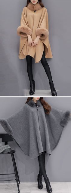 [Newchic Online Shopping] US$49.87 Women Elegant Faux Fur Cloak Coats with Turtleneck