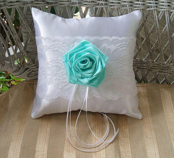 Sea Aqua Ring Bearer Pillow Handmade ROSE IN by RoseGardenStitches, $25.00