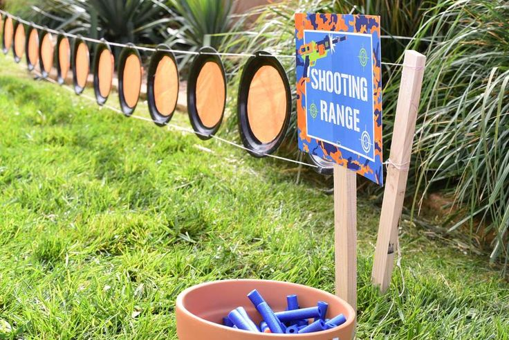 "Paper plate ""shooting range"" on stakes in the ground; party shirts"