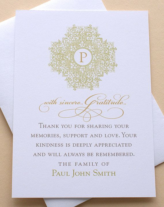 Funeral Thank You Cards with a Classic Design - Custom - Set of 36 FLAT Cards