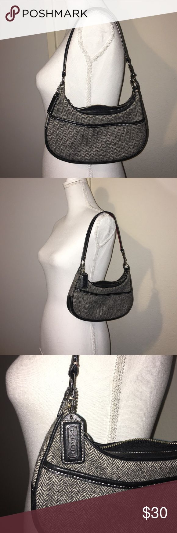 Authentic Coach hobo/clutch bag Authentic Coach hobo/clutch bag. Very nice black and gray fabric material. Coach Bags Clutches & Wristlets