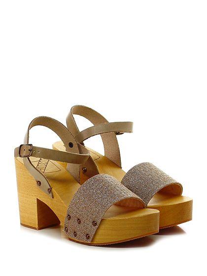 Antidoti - Sandalo alto - Donna - Sandalo alto in pelle e glitter con cinturino alla caviglia e suola in gomma. Tacco 95, platform 40 con battuta 55. - BEIGE\CIPRIA - € 95.00
